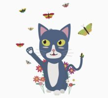 Cat with butterflies   Baby Tee