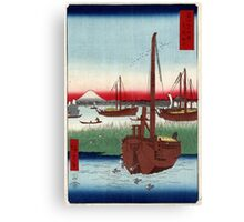 Offing Of Tsukuda In The Eastern Capital - Hiroshige Ando - 1858 - woodcut Canvas Print