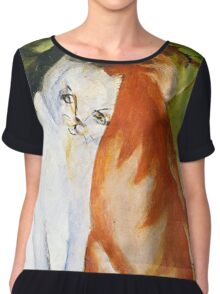 Two Cats Red and White by Franz Marc Chiffon Top