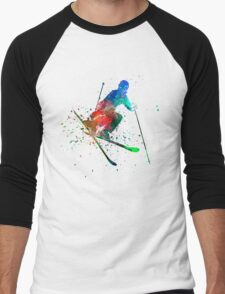 woman skier freestyler jumping Men's Baseball ¾ T-Shirt
