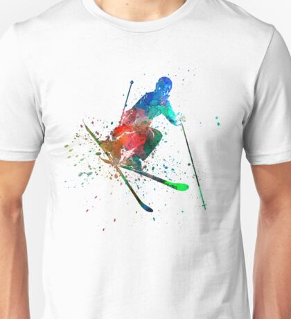 woman skier freestyler jumping Unisex T-Shirt