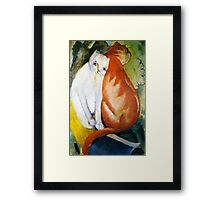 Two Cats Red and White by Franz Marc Framed Print