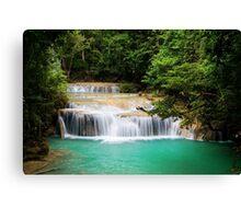 Cascading Stream In The Jungle Canvas Print