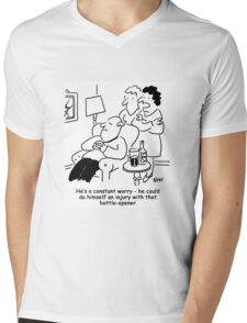 Injury with a bottle-opener Mens V-Neck T-Shirt
