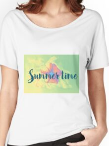 Summer time typographical background with colorful flower. Women's Relaxed Fit T-Shirt