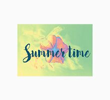 Summer time typographical background with colorful flower. Unisex T-Shirt