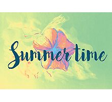 Summer time typographical background with colorful flower. Photographic Print
