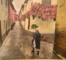 Italian Women walking home from grocery store by miarenoir3
