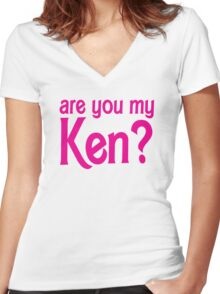 Are you my Ken? Women's Fitted V-Neck T-Shirt