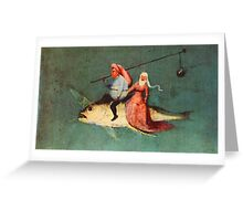 Weird flying fish with riders design by Hieronymus Bosch Greeting Card