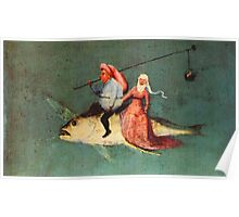 Weird flying fish with riders design by Hieronymus Bosch Poster