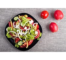 Top view of a small bowl of salad from natural raw vegetables Photographic Print