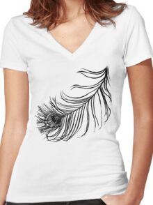 PEACOCK BIRD FEATHER  Women's Fitted V-Neck T-Shirt