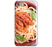 Small portion of cooked spaghetti with tomato seasoning iPhone Case/Skin