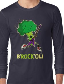 Funny cartoon broccoli playing electric guitar Long Sleeve T-Shirt