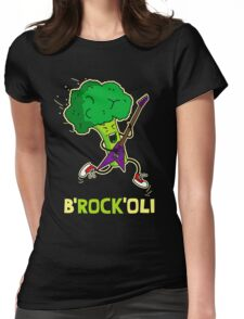 Funny cartoon broccoli playing electric guitar Womens Fitted T-Shirt
