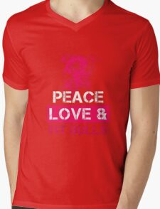 Peace Love and Pit Bulls shirt Awesome Pitbull Lover Tee Gift for Dog Owners Pit Bull T-Shirt Mens V-Neck T-Shirt