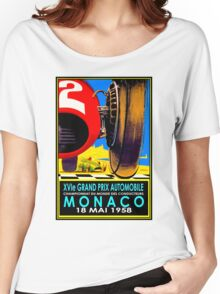 """""""MONACO GRAND PRIX"""" Vintage Auto Racing Advertising Print Women's Relaxed Fit T-Shirt"""