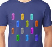 Phone booth on snorkel blue background Unisex T-Shirt