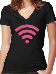 Cute Pink Wi-Fi Women's Fitted V-Neck T-Shirt