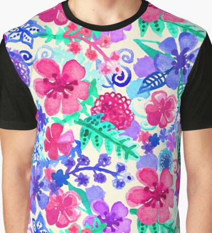 Fresh Watercolor Floral Pattern Graphic T-Shirt