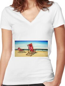 Crimson Beach Chairs  Women's Fitted V-Neck T-Shirt