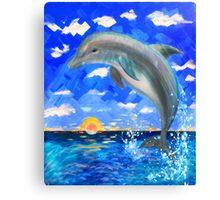 Baby Dolphin Radiant Sunrise Canvas Print