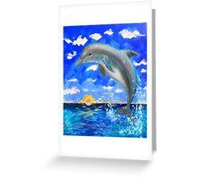 Baby Dolphin Radiant Sunrise Greeting Card