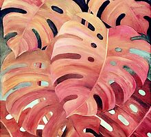Monstera Love in Magenta and Coral - oil painting by micklyn