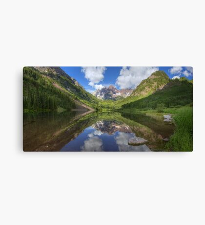 Maroon Bells Images - Panorama of the Bells on a Summer Morning Canvas Print