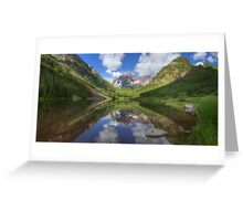 Maroon Bells Images - Panorama of the Bells on a Summer Morning Greeting Card