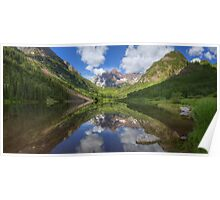 Maroon Bells Images - Panorama of the Bells on a Summer Morning Poster