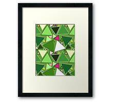 Mid-Century Modern Triangles, Lime Green Multi Framed Print