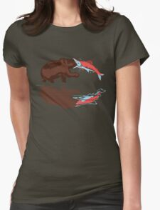 salmon eat bear Womens Fitted T-Shirt