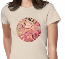 Monstera Love in Magenta and Coral - oil painting Womens Fitted T-Shirt