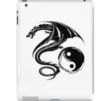Yin And Yang Big Black Flying Dragon On White Background Design iPad Case/Skin