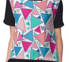 Mid-Century Modern Triangles, Turquoise and Coral Chiffon Top