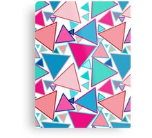 Mid-Century Modern Triangles, Turquoise and Coral Metal Print
