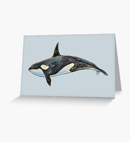 Orca on blue Greeting Card