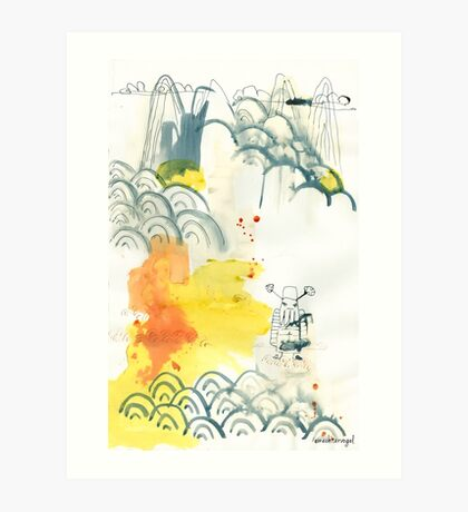 abstract, Landschaft, ink painting, Chinese landscape, Malerei Art Print