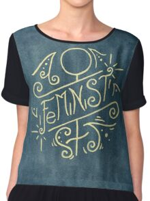 Feminist - Watercolour Illustration of Ornate Lettering With Flourishes Chiffon Top