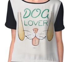 Dog Lover - Watercolour Illustration of Dog Mouth, Tongue, Nose and Whiskers With Calligraphy Lettering Quote Chiffon Top