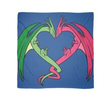 Flying Love Dragons On Blue Background Design Scarf