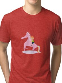 Happy Unicorn and Boy Tri-blend T-Shirt
