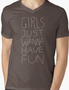 Girls Just Wanna Have Fun Pattern on BLACK Mens V-Neck T-Shirt