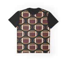Garnet and Gold Football All-Over Pattern Graphic T-Shirt