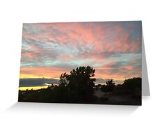 Multicolored Sunset Over Trees Greeting Card