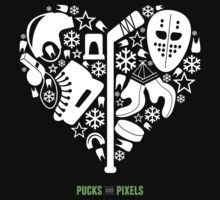 Hockey Heart (White) by pucksandpixels