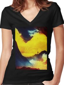 This volcano is mine Women's Fitted V-Neck T-Shirt