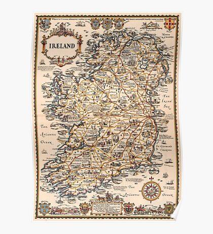 1927 vintage Ireland map Poster